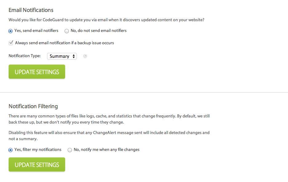 Change Alert Configurations